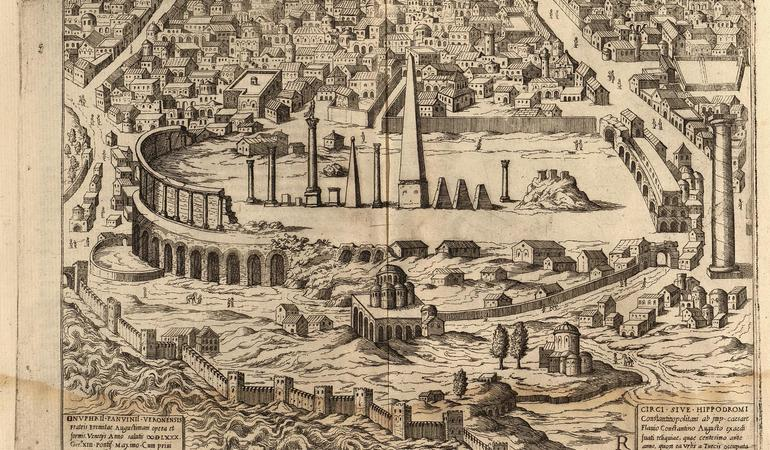 Onufrio Panavinio's drawing of the Hippodrome of Constantinople (c. 1600)