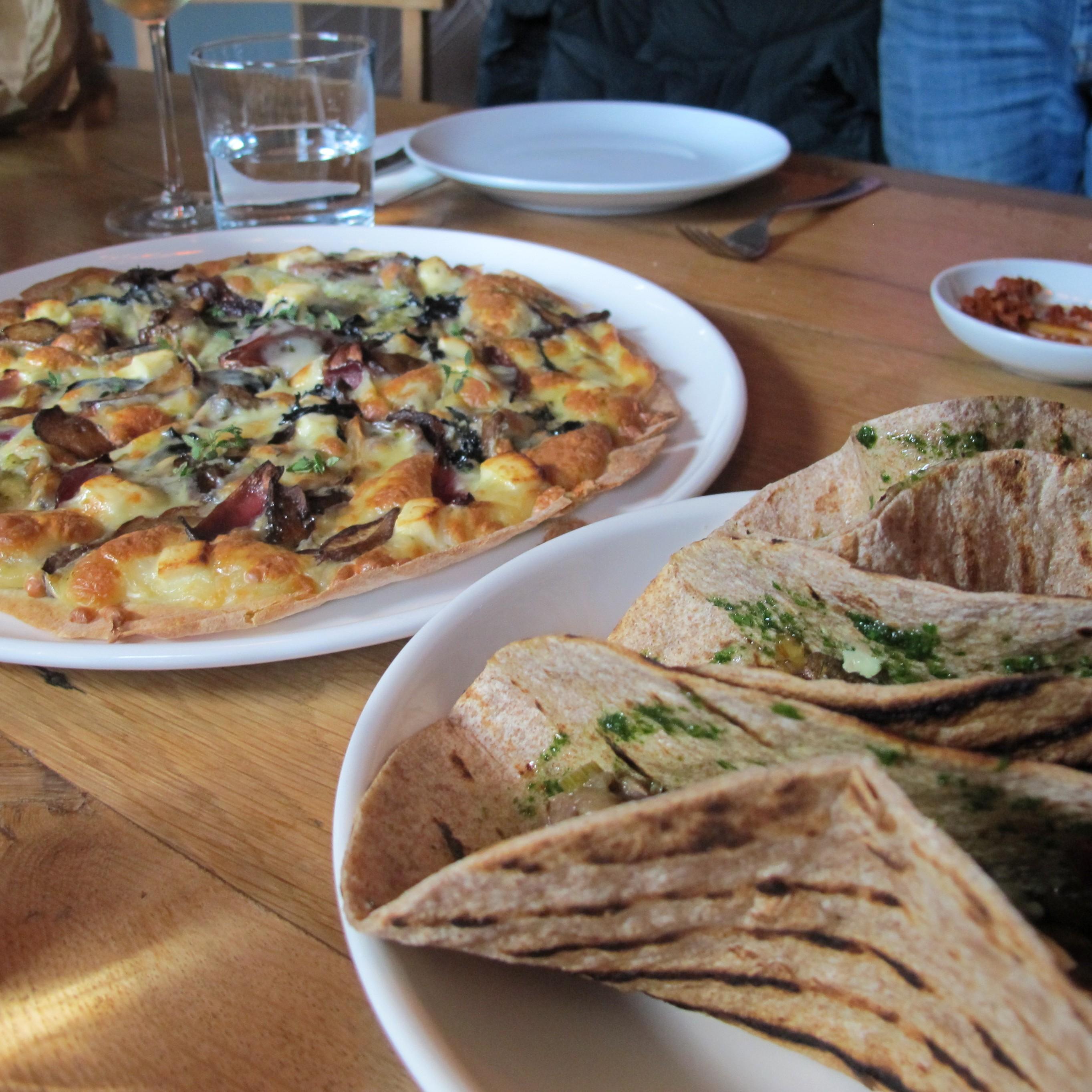 Pizzetta and Veggie Tacos